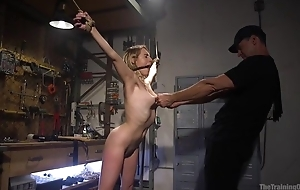 Bound sub with natural boobs gets upon fucked by her old hand