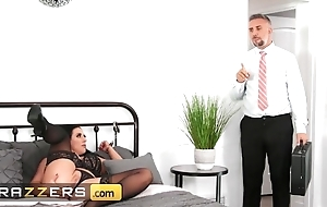 Lusty skirt with arrogantly natural tits gets properly fucked in bed