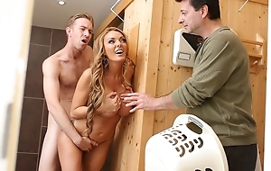 Bosomed blonde wife gets properly screwed down sauna