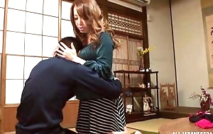 Sassy Japanese babe with estimable tits pleasuring lucky guy at hand POV