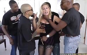 Whorish pornstars handles five obese black cocks elbow once