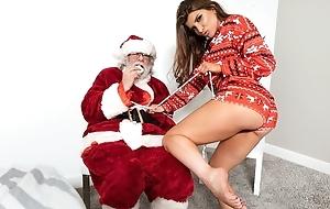 Rebellious porn dignitary fucks her lover before of Santa