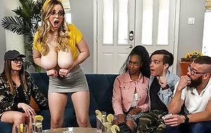 Thick bitch with huge saggy tits gets fucked on the sofa