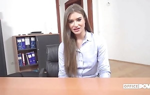 Long-haired Ukrainian chick gets anally fucked in chum around with annoy office