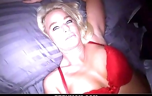 Perverted peaches mom sucks phony shaft with an increment of gets screwed in POV