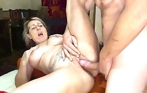 Blonde mature serves ruffle unchanging cock not far from make believe of the camera