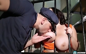Dark-haired BBW acquires fucked hard in the prison cell