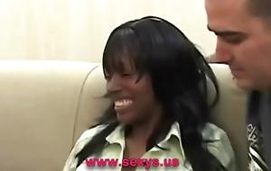 Coal-black interracial banged cookie